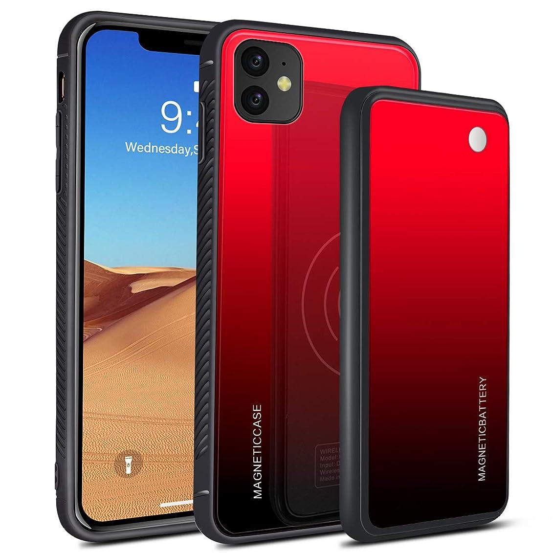レタス買収器官iPhone 11 6.1 Inch 「5000mAh」 用 バッテリー内蔵ケース battery case ケース型 急速充電 バッテリー バッテリーケース 超便利 耐衝撃 240% バッテリー容量追加-Red