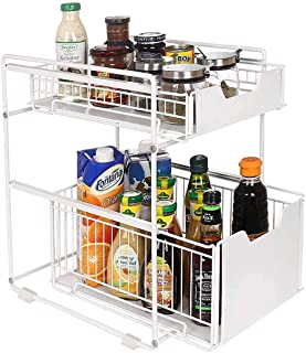 U-HOOME Spice Rack Organizer for Countertop, 2 Tier Metal Drawer Seasoning Shelf Storage for Cabinet, Sliding Basket Under...