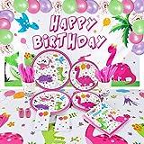 Dinosauro Compleanno Decorazione - Forniture per Dinosauri Stoviglie per Ragazze Compleanno Sfondo Palloncini Piatti Tazze Tovaglioli Tovaglie Tovaglia Posate Sacchetti di Posate 16 Ospiti 152 PCS