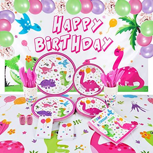 Decoración Cumpleaños Dinosaurios - Vajilla de la Fiesta de los Dinosaurios para Niñas Fondo de Cumpleaños Globos Platos Tazas Servilletas Manteles Cubiertos Bolsas Sirve a 16 Invitados 152 PCS