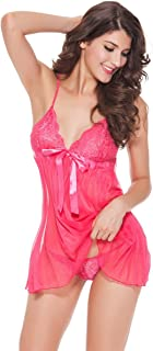 Night Rose Sexy Lingerie for Women See-Through V Neck Lace Mesh Babydoll Camisole Strap Mini Chemise