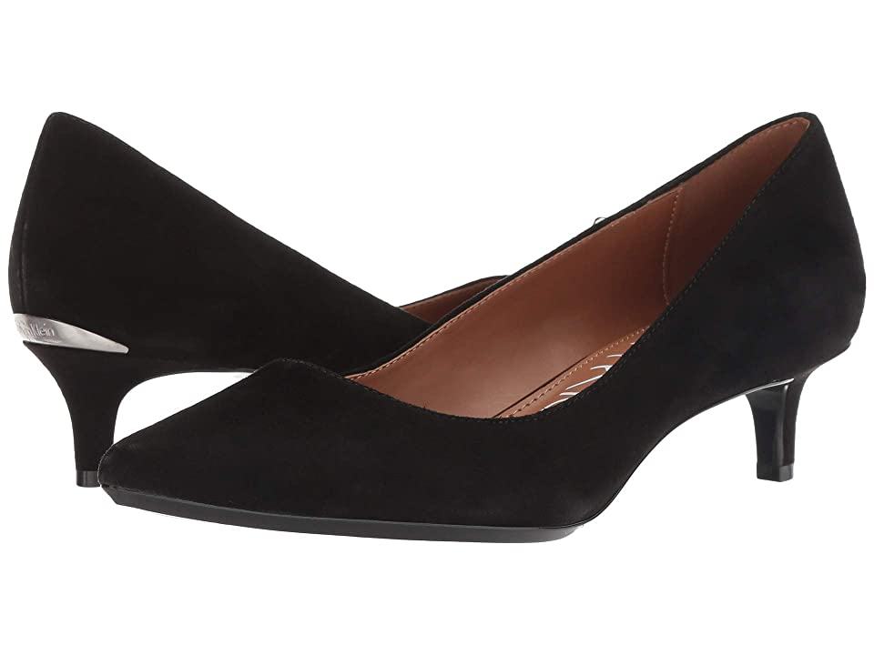 1950s Style Shoes | Heels, Flats, Saddle Shoes Calvin Klein Gabrianna Pump Black Kid Suede Womens 1-2 inch heel Shoes $99.00 AT vintagedancer.com