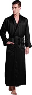 Mens Real Silk Robe 22 Momme Bath Robes Luxury Contrast Full Length 100 Silk Male Long