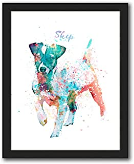 Personalized Gift for Dogs and Dog Lovers! Watercolor Style. (12.5x15.5 Framed Canvas, Jack Russell Terrier)