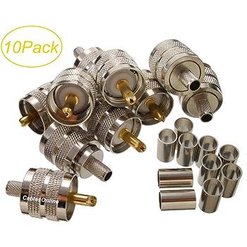 RG8X MPD Digital UHF PL259 Crimp Connectors for LMR-240 Bag of 50 Mini-8 and RG59 Type Coax CNT-240
