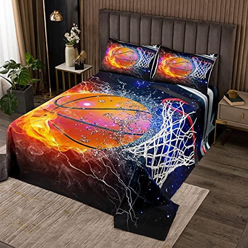 Basketball Tagesdecke 170x210cm Wasser & Feuer Bettdecke Sport Gaming Thema Bettdecke Set 2 Stück für Kinder Teens Zimmer Dekor Flamme Basketball Übergroße Bettwäsche Quilt mit 1 Kissenbezug