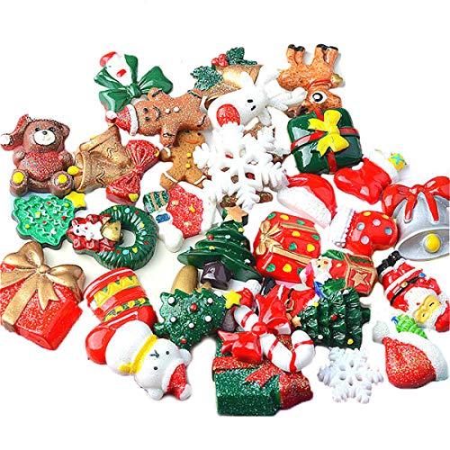 Guador Mini Adornos Navideños Resina, 50 Piezas Aleatorio Decoraciones Navideñas DIY Manualidad para Miniaturas Navidad para Regalo Parcela Tarjetas Felicitación