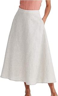 Women's Linen High Waist A-line Flared Long Skirt with Pockets Summer Casual Maxi Skirt