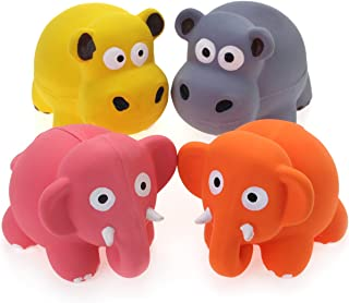 Chiwava 3.1'' Squeak Latex Puppy Toy Lovely Elephant Cow Sets Pet Interactive Play for Small Dogs Assorted Color