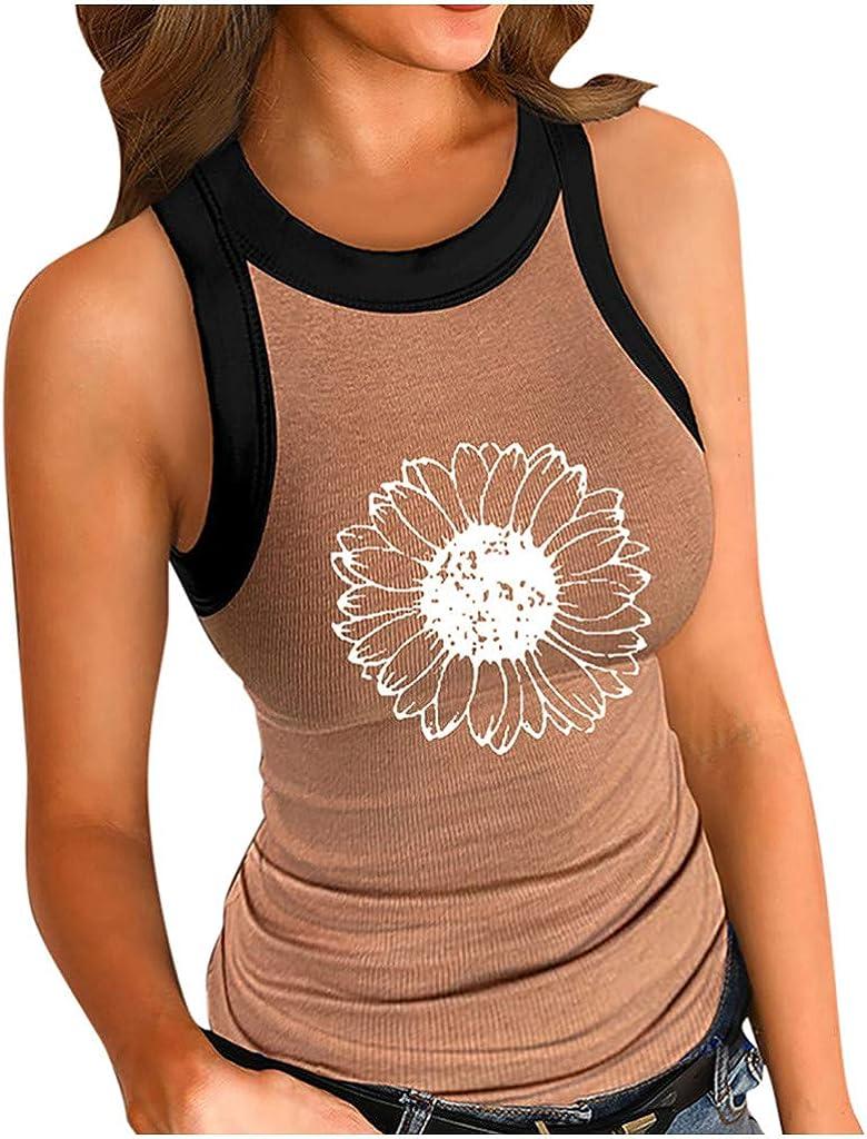 Arlington Mall HebeTop Women Slim Cotton Tank Ribbed Round Neck Cami Basic Directly managed store