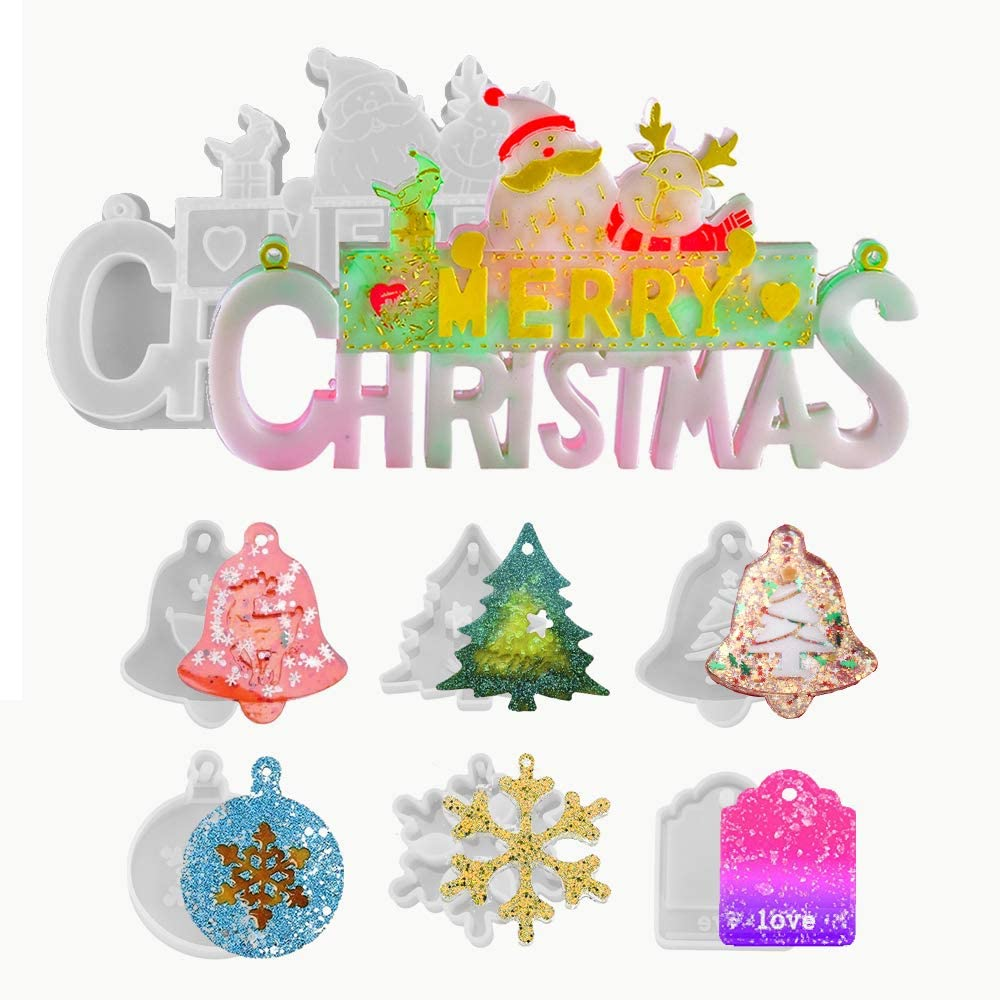 7 Pieces Christmas Ranking TOP3 San Francisco Mall Resin Molds Word Silicone Mo Merry