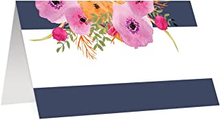 Navy Blue Table Placecards Assigned Seating Arrangement 50 Pack Blank Escort Place Cards Scored Easy Fold Tent 3.5
