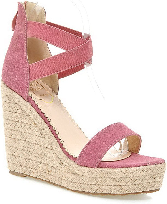 AllhqFashion Women's Open Toe Zipper Imitated Suede Solid High Heels Sandals