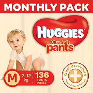 Huggies Ultra Soft Pants Diapers Monthly Pack, Medium (136 Count)
