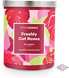 Royal Essence Freshly Cut Roses Jewellery Candle (Surprise 925 Sterling Silver Jewellery Valued at $50 to $3,000) 90-100 H...