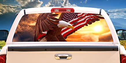 SignMission Bald Eagle Flag Rear Window Graphic Truck View Thru Vinyl Decal, 22