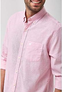 Camisa Linho Misto Listradinha - Rosa