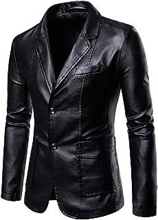 Męski garnitur biznesowy skórzany dopasowany dopasowany męski slim fit na co dzień jeden guzik garnitury płaszcz solidna m...
