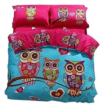 Dodou Cute owl Love Girls Duvet Cover Set Cartoon Bedding Queen 3pcs  No Comforter Insert