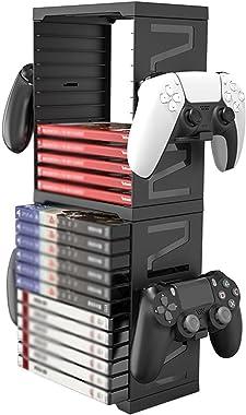 AXDNH Support de rangement vertical pour cartes de jeu PS 5/X Box One - 24 pièces - Pour console Nintendo Switch
