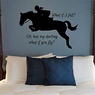 What If I Fall Decals Stickers Equestrian Hunter Jumper Horse Decal Jumping Horse Wall..