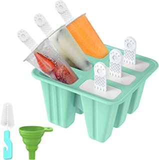 Popsicle Molds, Ouddy 6 Pieces Silicone Popsicle Molds DIY Reusable Ice Pop Molds - Easy Release Popsicle Maker with Silicone Funnel & Cleaning Brush(Green)