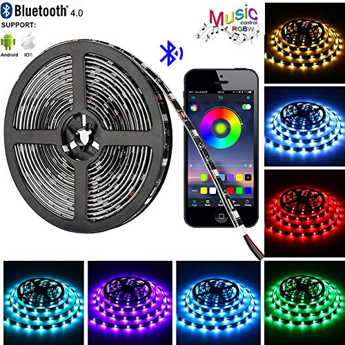 Tira LED de Bluetooth, WINSUNY Luces de Tira LED Controlada por Smartphone APP, Sync to Music, 5050 RGB…