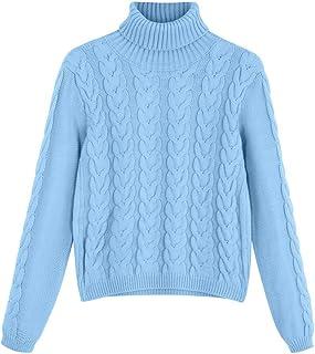 Amlaiworld Suéter Slim fit para Mujer Moda de Invierno para Mujer Color sólido Cuello Alto Manga Larga Suéter Flojo Jersey...