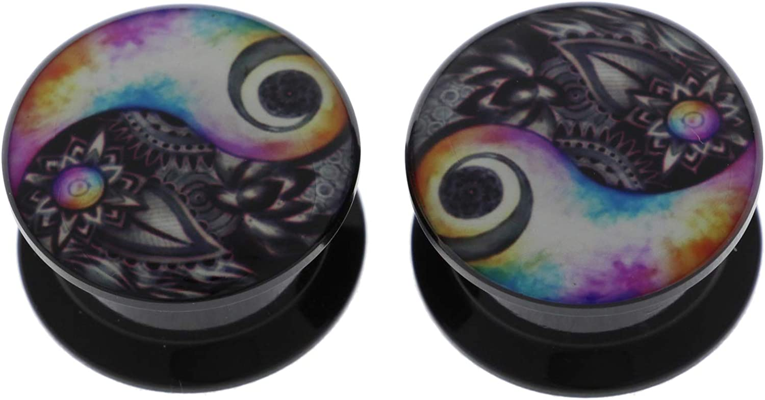 Pair Black Yin Yang Acrylic Ear Ranking TOP1 Flare Saddl Tunnels Double Plugs Max 81% OFF