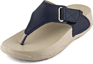 Women's Partywear Leather Thong Sandal with Red Belt Brown Color (Size 8)