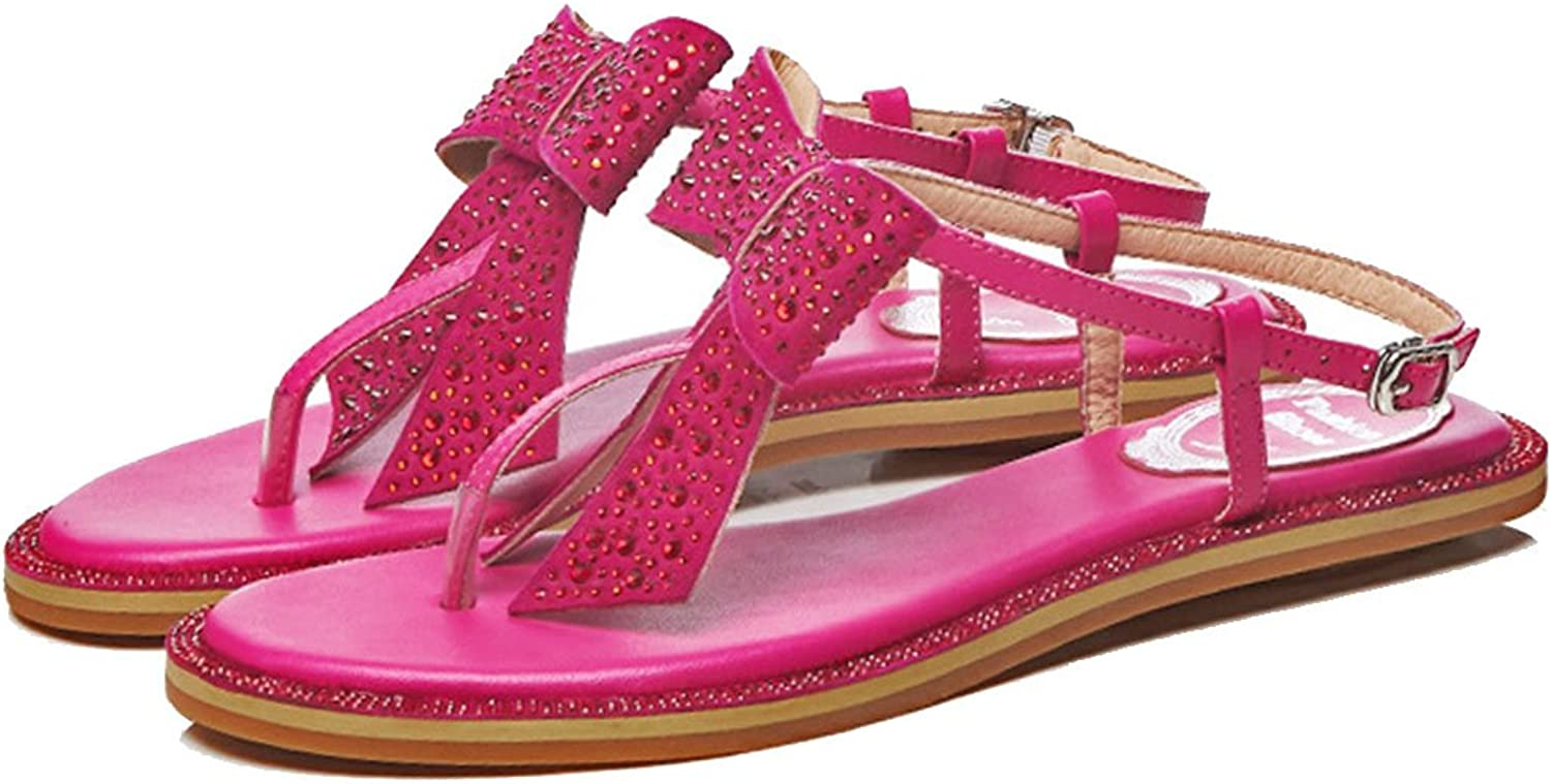 LZWSMGS Ladies Leather Open Toe Sandals Summer Clip Toe Rhinestone Bow Bow Sandals Outdoor Vacation Casual Roman Women's shoes Ladies Sandals (color   pink Red, Size   37)