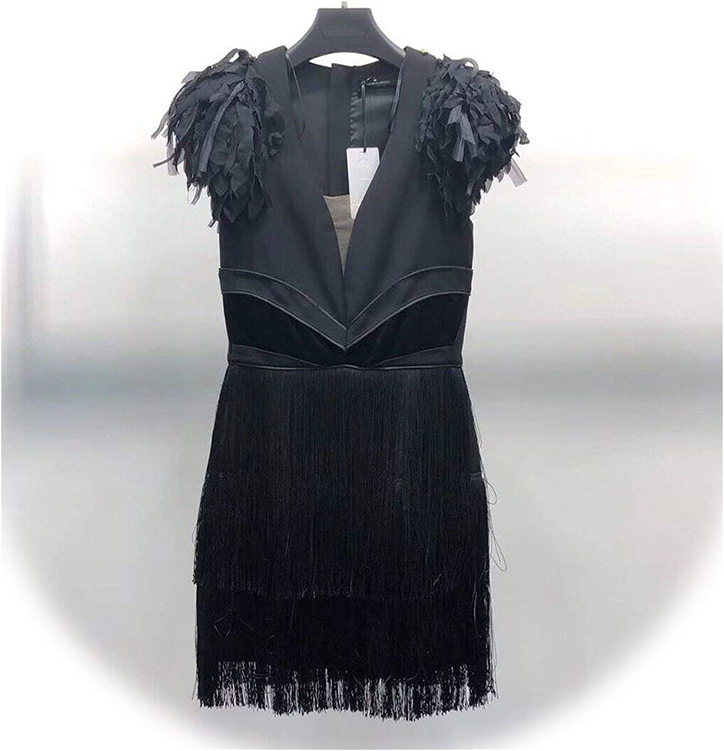 Dreamedge Patchwork Tassel Mini Dresses Women Sleeveless V Neck Sexy Black Party Dress Female Fashion Clothing 2019 Autumn