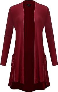 Women's Open Front Lightweight Classic Long Sleeve Front Pocket Cardigan