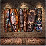 Máscara tribal étnica africana, máscara facial, lienzo, pintura, póster, impresiones, arte de pared, cuadros abstractos para sala de estar, decoración del hogar, Cuadros