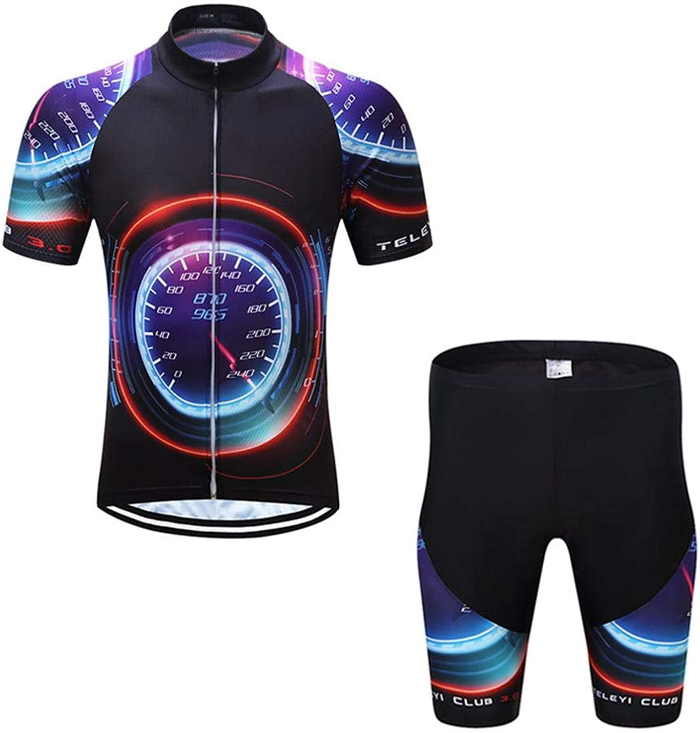 Men's Bib Shorts & Short Sleeve Jersey Set,Suitable For All Levels Of Cyclist From Beginner To Pro