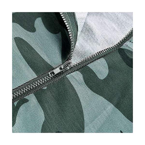 PALINDA Women's High Zipper Collar Long Sleeve Camouflage Hoodies Pullover Sweatshirt with Pocket