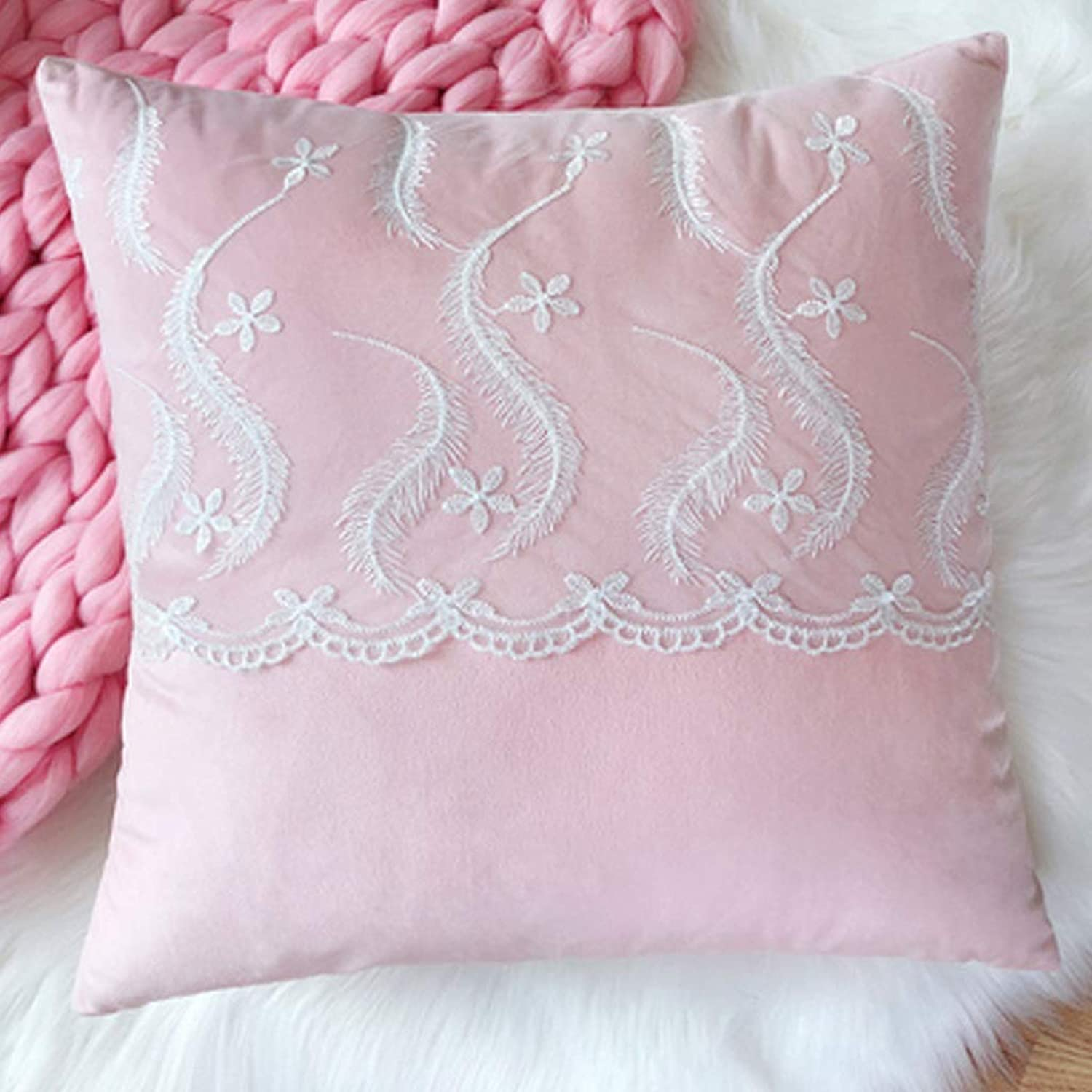 Pillow Pink Princess Wind Cute Girl Heart Cushion Sofa Pillow Pillow, Home Decoration Soft and Durable QYSZYG (color   A)