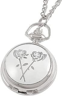 Un ncie White Rose Print Adjustable Necklace Pendant Pocket Watch