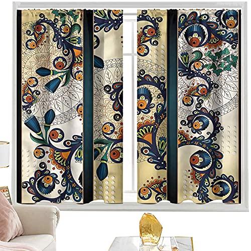 Cortinas y cortinas abstractas, diseño de flores estilo Batik W42 x L63 pulgadas cortinas opacas