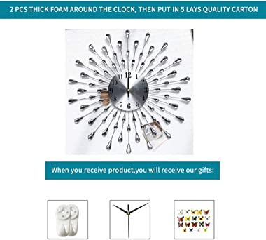 FLEBLE Large Wall Clocks for Living Room Decor Modern Silent Wall Clock Battery Operated Non-Ticking for Bedroom Kitchen Offi