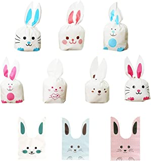 Daimay 50 Pcs Halloween Bunny Candy Bags Easter Gift Wrap Bags Cookie Bread Cake Dessert Drawstring Pouch Pocket with Rabbit Ear for Party Favors Supplies