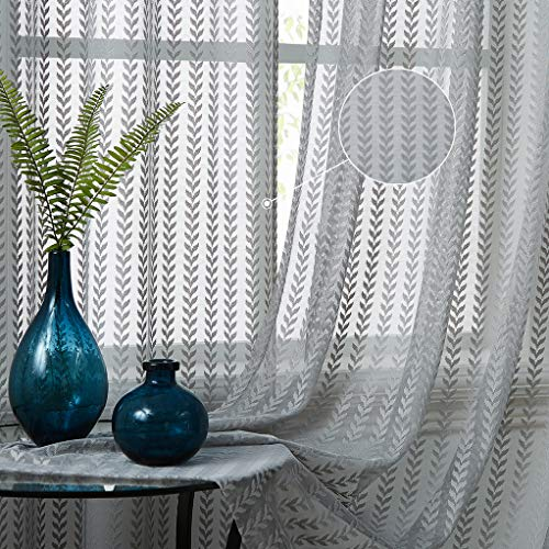 """Ronaldecor Floral Embroidered Arrow Sheer Curtain Panels -Chevron Leaf Window Treatment Rod Pocket Voile Sheer Drapes 84 Inches Long for Living Room/Bedroom, 42"""" x 84"""", 2 Panels, Grey"""