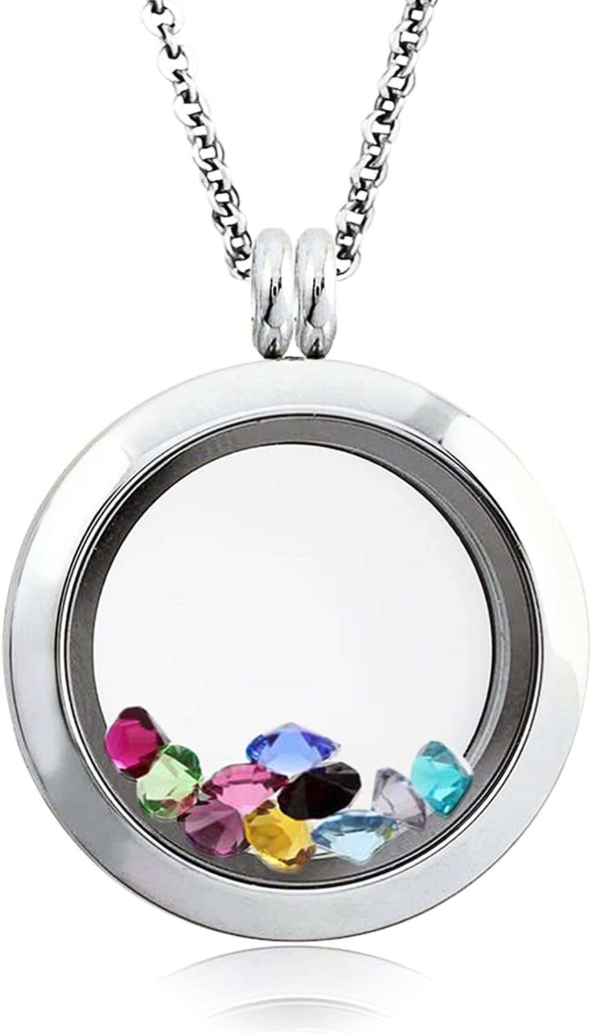 Tioneer 25 MM Stainless Steel Floating Glass Charm Locket Pendant Necklace with 10 Randomized Colored Stones