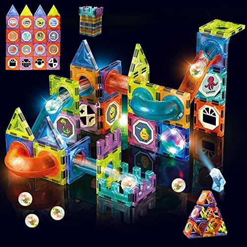 BoomCaCa Blocchi Costruzioni Magnetiche LED - Giocattoli Magnetici 3D per Bambini - Giochi Magnetici per Giocattoli Educativi Regalo per 3 4 5 6 Anni Ragazzi e Ragazze