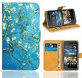 HTC Desire 620 Handy Tasche, FoneExpert® Wallet Hülle Flip Cover Hüllen Etui Ledertasche Lederhülle Premium Schutzhülle für HTC Desire 620 (Pattern 8)
