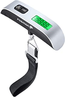 Fosmon (1個セット) 荷物 旅行はかり デジタル はかり/ベルト吊り下げ式ラゲッジチェッカー/計量器/携帯式デジタル スーツケース スケール 【測定可能単位:kg, g / 最大50kgまで量れる / ステンレス仕上げ/LCD液晶ディスプレイ/温度計機能付】便利 軽量 風袋引き機能付 (シルバ/ブラック)