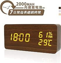 目覚まし時計 蓄電 Pushingbest 木目 置き時計 デジタル時計 湿度 温度付き LEDおしゃれ 木製時計 多機能 平日/曜日アラーム 3段輝度調節 音声感知 省エネ 卓上寝室台所用 (カラー2)