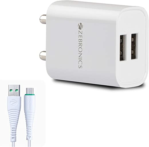 ZEBRONICS Zeb-MA5222 USB Charger Adapter with 1 Metre Micro USB Cable, 2 USB Ports, for Mobile Phone/Tablets (White)