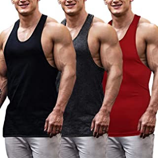 COOFANDY Men`s 3 Pack Gym Tank Tops Y-Back Workout Muscle Tee Fitness Bodybuilding T Shirts