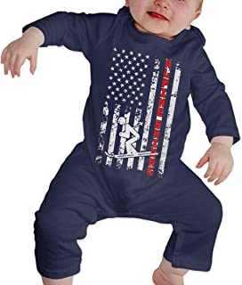 US American Flag Alpine Skiing Ski Toddler Baby Boy Girl Long Sleeve Infant Bodysuit
